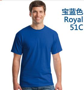 厂家订做宝蓝全棉圆领广告衫