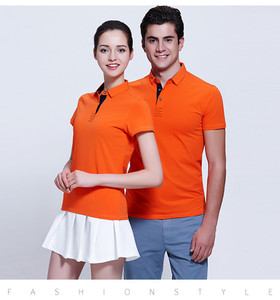 时尚新款纯色男女款奥代尔平纹小领桔色POLO衫定制厂家