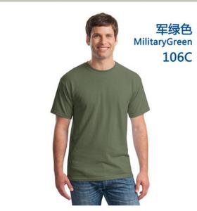 全棉圆领军绿色文化衫订制