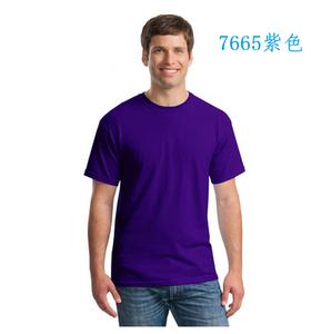 广州全棉圆领紫色文化衫定做加工厂家