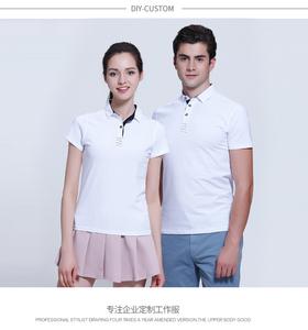 新款夏季短袖翻领男女情侣白色奥代尔POLO衫厂家订做