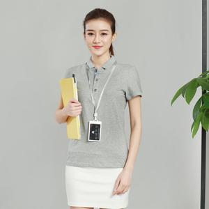 欧根棉灰色女款T恤衫定制加工