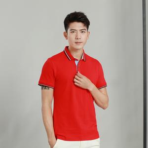 男装纯色精棉拉架红色T恤衫定制批发