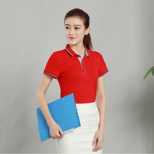 纯色女款红色精棉拉架T恤衫订做厂家直销