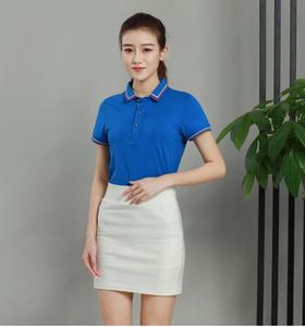 新款百搭商务休闲女款蓝色欧根棉厂家订制POLO衫