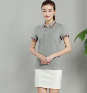 时尚女款纯色欧根棉提花小领灰色POLO衫定做加工