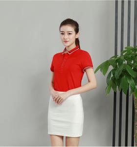新款时尚夏季企业团体服红色女款POLO定做厂家