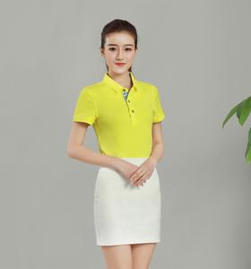 欧根棉纯色翻领黄色T恤衫定做