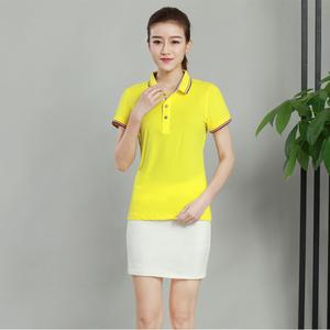 蚕丝棉女款纯色黄色T恤衫厂家定制